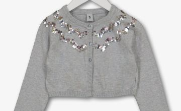 Grey Sequin Bolero Cardigan