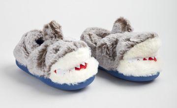 Grey Shark Fluffy Full Slippers