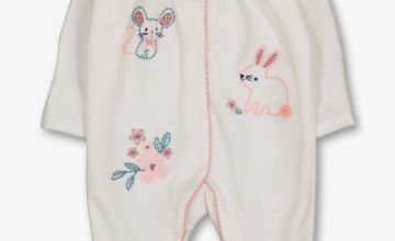 Cream Mouse & Bunny Velour All In One