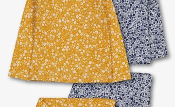 Mustard Yellow & Blue Floral Pyjamas 2 Pack