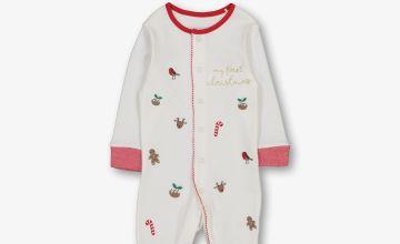 Cream First Christmas Sleepsuit