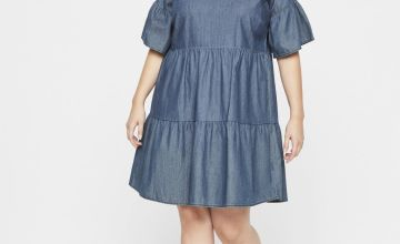 JUNAROSE Blue Denim Tiered Dress