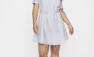 JUNAROSE Blue & White Stripe V-Neck Dress