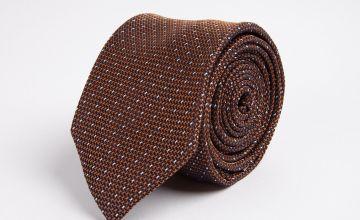Brown & White Textured Spot Tie - One Size