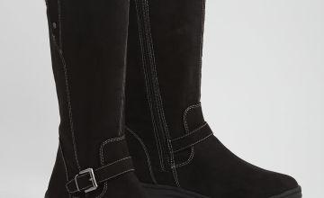 Black Knitted Cuff Long Leg Boots