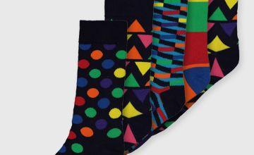Bright Geo Print Stay Fresh Socks 5 Pack