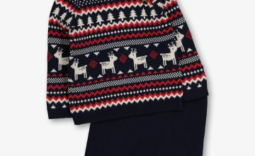 Christmas Navy Fair Isle Knitted Set - Newborn
