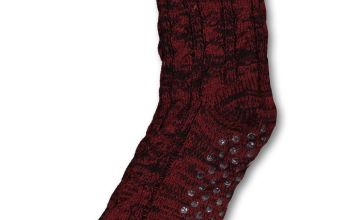 Dark Red Cable Knit Slipper Socks - 6-11