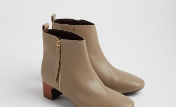 Online Exclusive PREMIUM Beige Leather Side Zip Ankle Boot