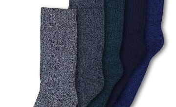 Blue Cushioned Comfort Socks 5 Pack