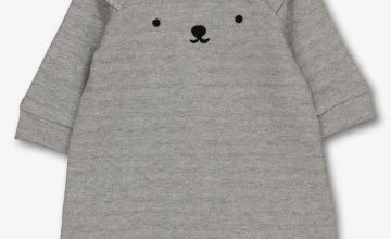 Grey Polar Bear Herringbone Romper