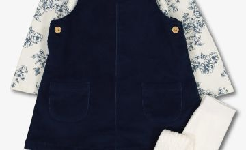 Navy & Cream Pinafore, Bodysuit & Tights