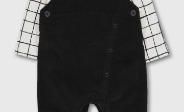 Black Cord Fashion Dungaree & Bodysuit Set