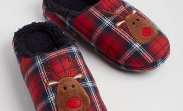 Christmas Red Check Reindeer Slippers - S