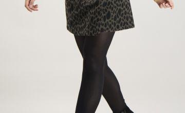 Brown Leopard Print Brushed Skirt