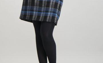 Black & Blue Check Mini Skirt