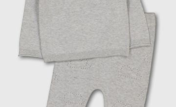 Grey Knitted Jumper & Joggers Set