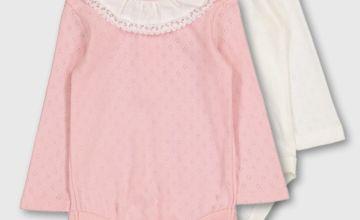 Cream & Pink Clown Collar Bodysuit 2 Pack