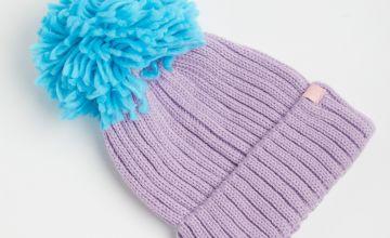Lilac Knitted Pom-Pom Beanie Hat