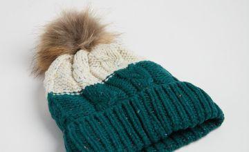 Green & Cream Beanie Hat