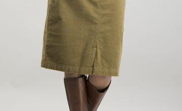 Olive Green Needlecord Pencil Skirt