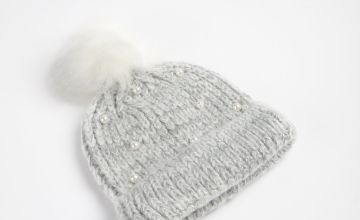 Grey Pearl Knitted Beanie Hat