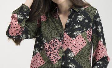 Multicoloured Patchwork Print Button-Through Shirt