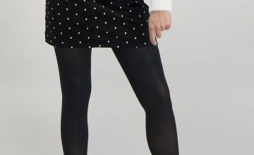 Black Spot Corduroy Mini Skirt