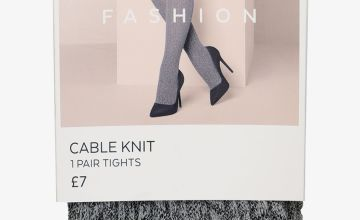 Grey Fashion Cable Knit Tights