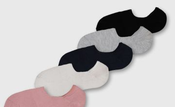Multicoloured No Show Trainer Socks 5 Pack - 4-8