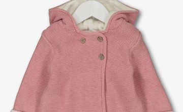 Dusky Pink Knitted Faux Fur Lined Cardigan - Up to 1 mth