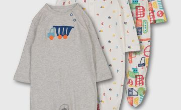Multicoloured Transport Print Sleepsuits 3 Pack