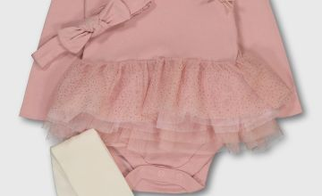 Pink Tutu Bodysuit, Headband & Tights