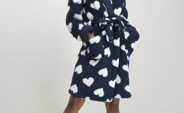 Navy & White Heart Print Dressing Gown