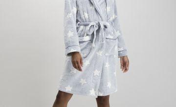 Light Blue Star Print Dressing Gown