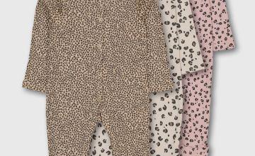 Brown & Pink Leopard Print Sleepsuit 3 Pack - 18-24 months