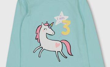 Pastel Green Unicorn 'I Am 3' Slogan Long Sleeve Top