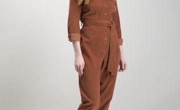 Burnt Orange Corduroy Long Sleeve Jumpsuit