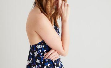 Black Floral Tummy Control Blouson Swimsuit