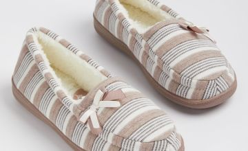 Taupe & Cream Striped Arch Support Full Slippers - 7