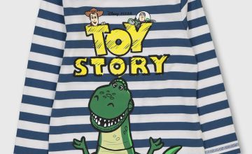 Disney Toy Story Navy Stripe Rex T-Shirt