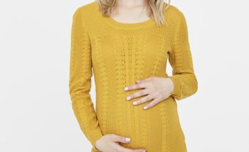 Yellow Knitted Maternity Top
