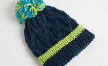 Navy Cable Knitted Beanie Hat