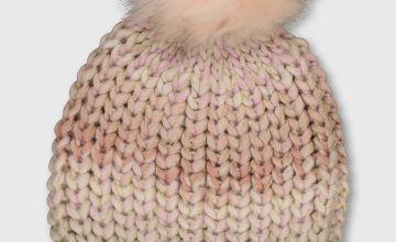 Pink Knitted Pom Pom Beanie Hat