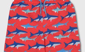 Red Shark Print Swim Shorts