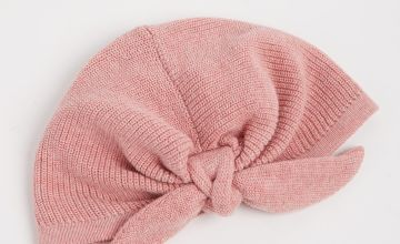 Pink Knitted Bow Turban-Style Hat