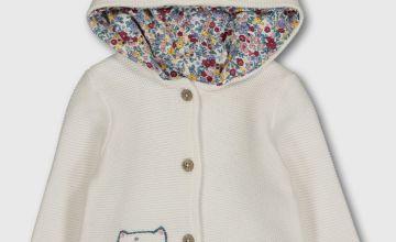 Cream Cat & Bunny Stitch Hoodie