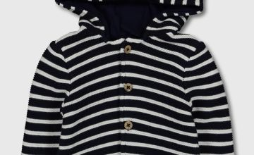Navy Stripe Teddy Ear Knitted Hoodie