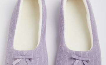 Lilac Textured Knitted Ballerina Slippers