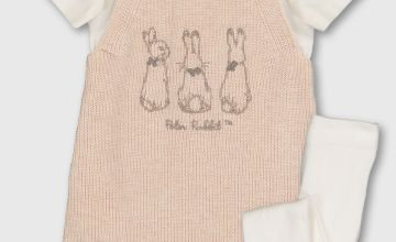 Peter Rabbit Ivory Bodysuit, Oatmeal Knitted Romper & Tights